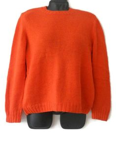 Items similar to Orange wool knit pullover Hand knit woman sweater S size orange wool pullover for women on Etsy Lana, Hand Knitting, Knit Crochet, Trending Outfits, Sweaters For Women, Unique Jewelry, Handmade Gifts, Pullover, Wool