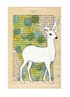 White deer - Print  - mixed media art A4 size
