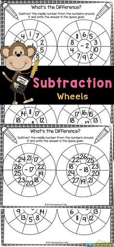 These fun, free subtraction wheels are a great way to practice subtraction problems with your student! These subtraction worksheets for kindergarten, first grade, and 2nd graders to memorize simple subtraction within 20 facts. Using these subtraction worksheet for class 1for great preparation for learning more advanced math skills in the future. Simply print math subtraction worksheets to have fun practicing subtraction for kids with no-prep simple subtraction worksheets.