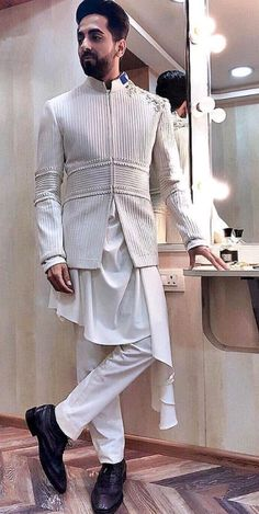 Freshen Up Your Wardrobe with a Touch of Exclusive Styles. Sherwani For Men Wedding, Wedding Dresses Men Indian, Wedding Outfits For Groom, Wedding Dress Men, Mens Indian Wear, Mens Ethnic Wear, Indian Men Fashion, Mens Fashion Suits, Indian Groom Dress