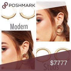 """......GOLD ROUND CUTOUT STUDS Sleek modern earrings. 1"""" around. Add a different look to your style. Definitely trendy! -No trades pls 51Twenty Jewelry Earrings"""