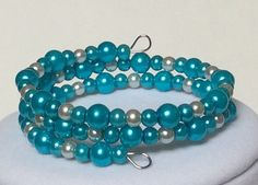 Aqua Marine and Silver Pearl Memory Wire by CreationsByLacieK