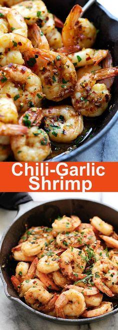 Chili Garlic Shrimp (Gambas Al Ajillo) – the best shrimp appetizer recipe you'll make. This Spanish chili garlic shrimp recipe is the bomb   rasamalaysia.com #seafoodrecipes
