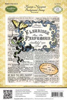 2012 JustRite Papercraft April Release - Fleuriste Newsprint Background Stamp