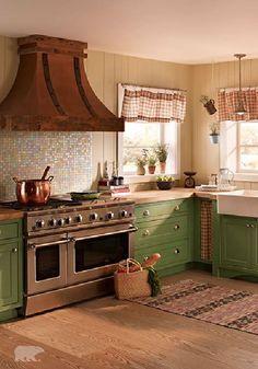 D For A Trendy Cottage Kitchen Pair Together Subtle Neutral Paint Color  With