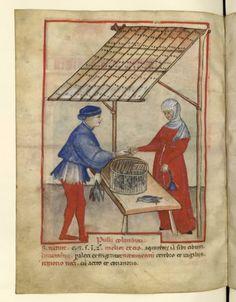 1390-1400 Nouvelle acquisition latine 1673, fol. 69v, Marchand de pigeons Image COMP-2