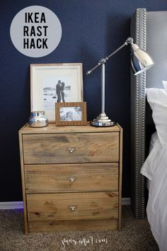 Rustic Ikea Rast Dresser Nightstand Hack - Minwax classic gray stain - Natural wood look - http://jennycollier.com/?p=11529