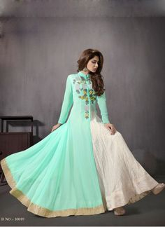 """Latest Sea-Green color Indo Western Style Anarkali Suit    Bottom Fabric Santoon Colour White, Green Dupatta Fabric Chiffon Fabric Georgette Fabric Care Dry Clean Only Inner Fabric Santoon Neck Type Collar neck Occasion Party, Ceremonial, Festival, Reception Size 30""""-42"""" Sleeve Type Full Sleeve Type Semi Stitched Anarkali suit Work Diamond Work, Resham Work, Zari Work, Embroidered www.khantil.com"""