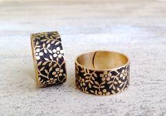 Raw Brass Ring / Forget me not / black / flower //mattgold Patina Messing floral Ring SCHWARZ von ☾●  MiMaMeise ●☽ auf DaWanda.com