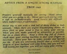 Grosgrain: Advice from a 1949 Singer Sewing Manual....Quite Interesting Indeed!