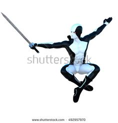 a young strong man in a white and black super suit. He crossed his legs jumping and holding an iron sword in his right hand. 3D rendering, 3D illustration