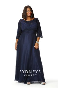 Magical Midnight Blue Plus Size Long Dress Sleeves