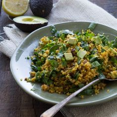 Healthy Curried Quinoa with Spinach and Avocado for Lunch by Indiaphile.info #vegan