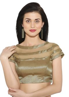 #Golden art #silk net readymade round neck #blouse decked with lace and stone work.