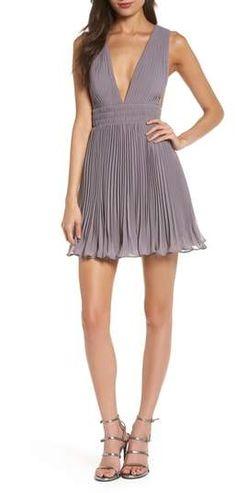 60bd7d787fc3 Fame   Partners The Briella Fit   Flare Pleat Dress Plunging Neckline