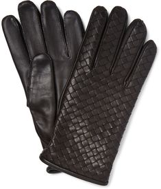 $490, Dark Brown Leather Gloves: Bottega Veneta Cashmere Lined Intrecciato Leather Gloves. Sold by MR PORTER. Click for more info: https://lookastic.com/men/shop_items/335144/redirect