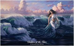 ...an oil painting of the Goddess of the Tides,  as the oceans follow Her irresistible gravity...