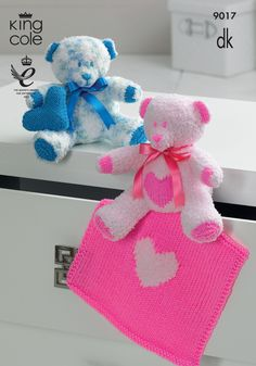King Cole Cuddles DK Pattern Knitted Teddy Bears With Cushion Blanket Pink Blue - Free Knitting Patterns Uk, Crochet Toys Patterns, Stuffed Toys Patterns, Knitted Teddy Bear, Teddy Bear Toys, Teddy Bears, King Cole, Knitting Supplies, Handmade Toys