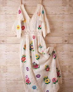 White Dress Folk Boho Hippie Maxi Hand