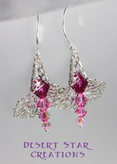 Bell Flower Lace Filigree Swarovski Crystal Drop Earrings Pink Make Your Own Jewelry, Jewelry Making, Jewelry Crafts, Jewelry Ideas, January 2018, Crystal Drop, How To Make Beads, Beaded Flowers, Filigree