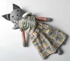 Handmade Cloth Cat Doll with Kitten in Sling, Heirloom Cat named Maggie