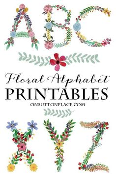 Floral Alphabet Printables from On Sutton Place | Perfect for framed monograms, banners, cards, crafts and more!
