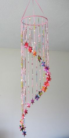 Hanging Origami Beaded Star Mobile