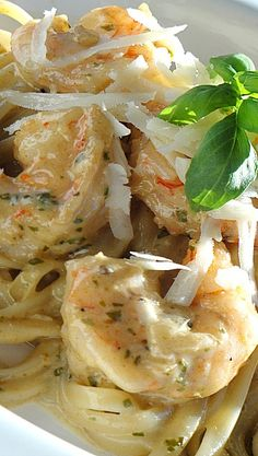Shrimp Linguine with a Pesto Cream Sauce. Tried this recipe on 7-28-14 and it was truly delicious. I didn't make any substitutions, but would love to try the recipe with chicken just to change it up.