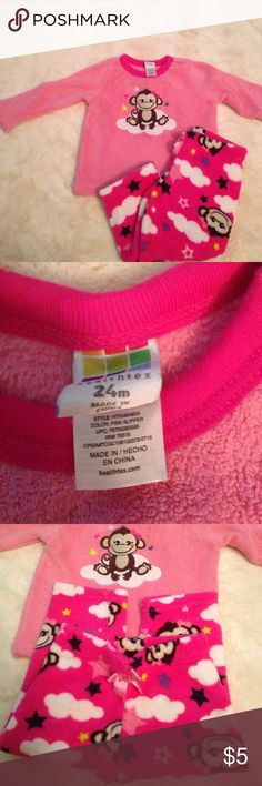Toddler fuzzy monkey pajama's Gently worn pink monkey super soft pajama's. Size 24m healthtex Pajamas Pajama Sets