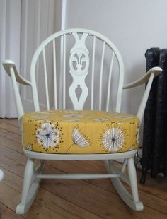 Stunning Ercol Rocking Chair Hand Painted And Re-upholstered Shabby Chic Vintage
