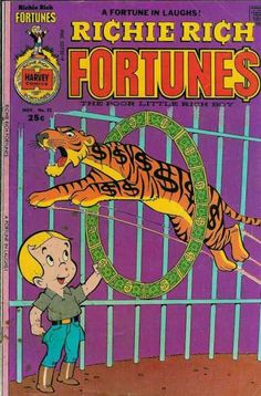 Boy - Tiger Jumping Through Money Circle - Cage - The Poor Little Rich Boy - A Fortune In Laughs Old Comics, Vintage Comics, Funny Comics, Vintage Posters, Old Comic Books, Comic Book Covers, Richie Rich Comics, Rich Boy, Jesus Painting
