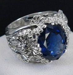 Silver ring with white gold finish. Rock - dark-blue sapphire from Africa Sold by Jewellry 407,00 $
