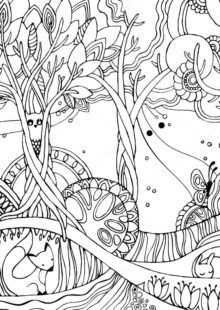 Adult Coloring Page Forest Fox Owl Stock Vector (Royalty Free) 394121626 Enchanted Forest Book, Enchanted Forest Coloring Book, Magical Forest, Forest Fairy, Forest Coloring Pages, Free Adult Coloring Pages, Coloring Book Pages, Butterfly Tree, Beautiful Flower Designs