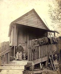 Princess Angeline, daughter of Chief Seattle at home in  1890, photo courtesy University of Washington Library