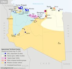 Libya control map: Shows detailed territorial control in Libya's civil war as of August 2015, including all major parties (Tobruk government, General Haftar's Operation Dignity forces, and Zintan militias; Tripoli GNC government, Libya Dawn, and Libya Shield Force; Shura Council of Benghazi Revolutionaries and other hardline Islamist groups; and the so-called Islamic State).