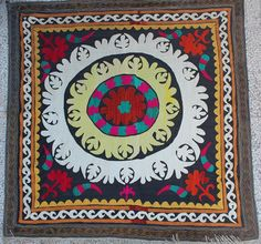 Handmade Vintage Suzani  52 x 52 Decorative by TEXTILEGALLERY, $275.00