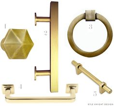 "1) Gothic Cabinet Knob No. 73300 - P.E. Guerin 2) 5"" Bar Pull in Brushed Brass - Lewis Dolin 3) 3"" Mission Style Solid Brass Ring Pull (Antique Brass finish) 4) Cabinet Bar Pull, 5 in. - Harney Hardware 5) Mission D Drawer Pull - Rejuvenation"