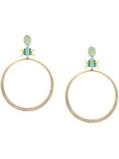 Iosselliani Elegua Large Hoop Earrings In Metallic Statement Earrings, Hoop Earrings, Iosselliani, Green Agate, Studs, Women Jewelry, Jewelry Design, Brass, Gold