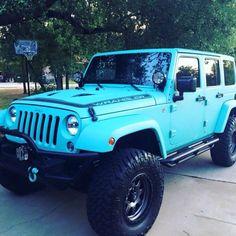 Tiffany Blue Jeep😍😍😍💙 definitely my color Maserati, Bugatti, Blue Jeep Wrangler, Jeep Rubicon, Jeep Wrangler Unlimited, Jeep Wranglers, Jeep Jk, Jeep Truck, Tiffany Blue