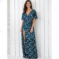 Bohemian Plunge Neck Print Wrap Maxi Dress