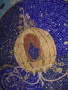 Pumpkin coach mosaic floor design in foyer of Cinderella Castle Suite (Disney World) Cinderella Disney, Cinderella Castle, Cinderella Suite, Disney Love, Disney Art, Disney Bedrooms, Famous Castles, Blue Fairy, Disney Magic Kingdom