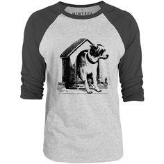 Mintage Dog House 3/4-Sleeve Raglan Baseball T-Shirt (Grey Marle / Charcoal)