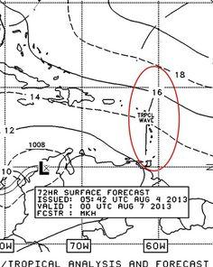 De acuerdo al mapa de análisis en superficie, ubica a una Onda Tropical al NE de Vzla +72hrs.  Debemos estar atentos ante esto, ya que podría generar precipitaciones para los Estados Orientales. Estaremos vigilantes...