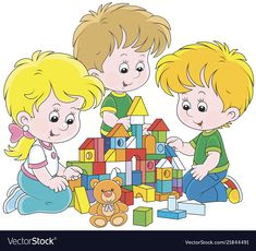 Children playing with bricks Royalty Free Vector Image Fat Cartoon, Cartoon Kids, Toy Castle, Picture Composition, School Frame, School Murals, Parenting Classes, Rock Crafts, School Classroom