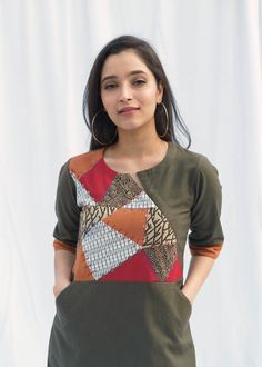 Olive Green Handwoven Cotton Tunic with Upcycled Patchwork Neck Designs For Suits, Dress Neck Designs, Designs For Dresses, Blouse Designs, Simple Kurta Designs, Kurta Designs Women, Salwar Pattern, Kurti Patterns, Simple Kurtis