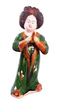 Sancai-glazed Chinese Noble Lady Figure, Tang Dynasty