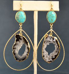 Geode Earrings  Large Turquoise Earrings  Geode by MamacitaStudios, $65.00