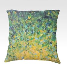 IRISH SUNRISE Green Ombre Fine Art Velveteen Throw Pillow Cover, Decorative Home Decor Colorful Fine Art Toss Cushion, Modern Bedroom Bedding Dorm Room Living Room Style Accessories by EbiEmporium, $75.00