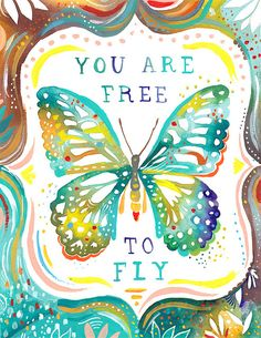 """Loving the colorful artwork by Katie Daisy. Her note on this piece says. """"We all need to remember that we might not be as stuck as we think..."""""""