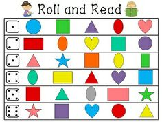 Shape recognition - Roll and read math and literacy stations for basic skills like 2d and 3d shapes, letters, numbers, etc